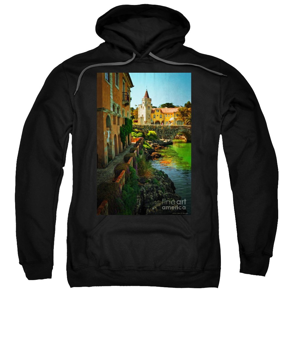 Walkway Along The River - Cascais Sweatshirt featuring the photograph Walkway Along The River - Cascais by Mary Machare