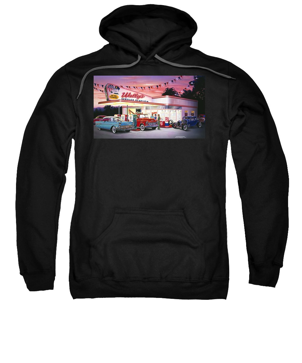 Adult Sweatshirt featuring the photograph Wallys Service Station by Bruce Kaiser