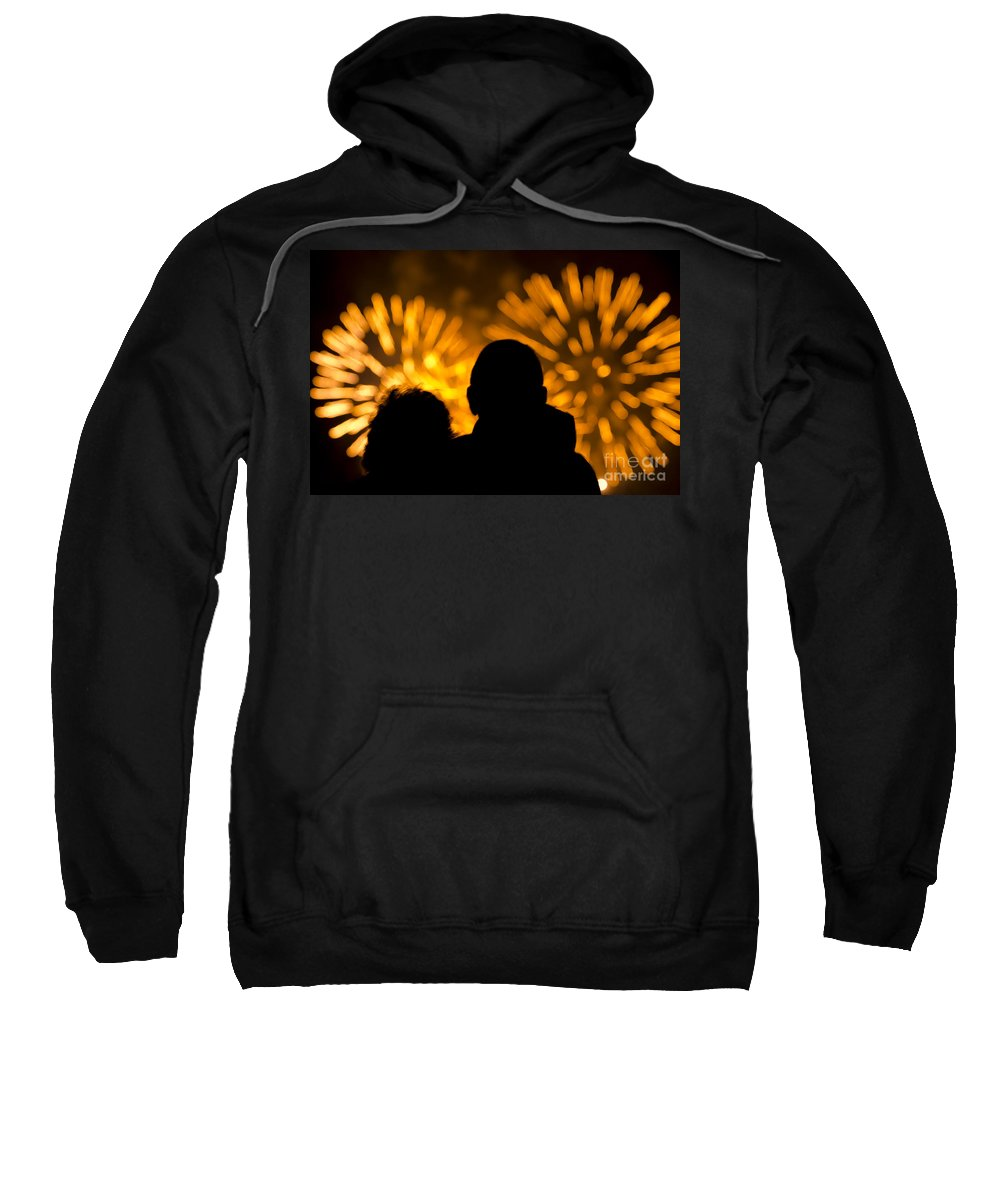 Fireworks Sweatshirt featuring the photograph Watching Fireworks by Mats Silvan