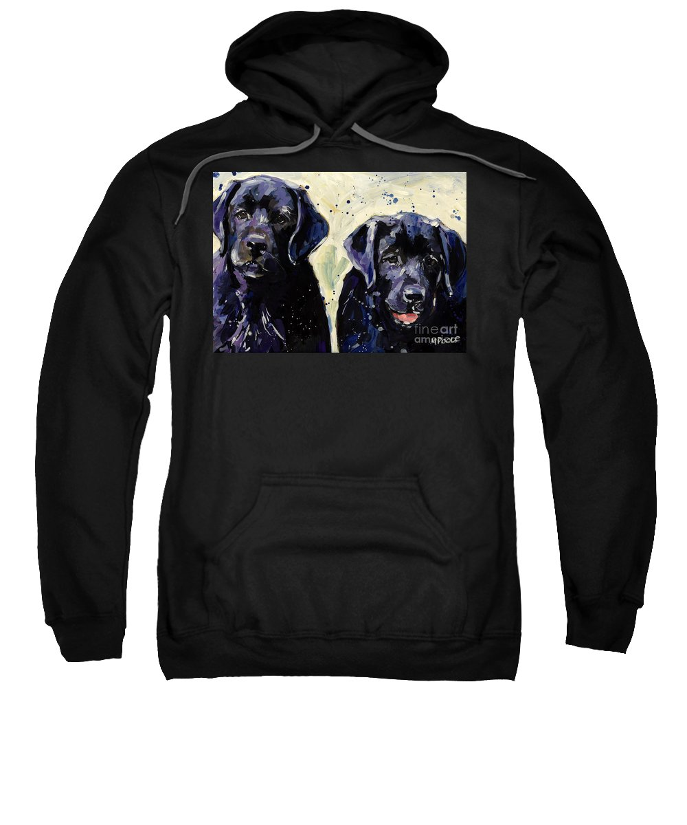 Labrador Retriever Puppies Sweatshirt featuring the painting Water Boys by Molly Poole