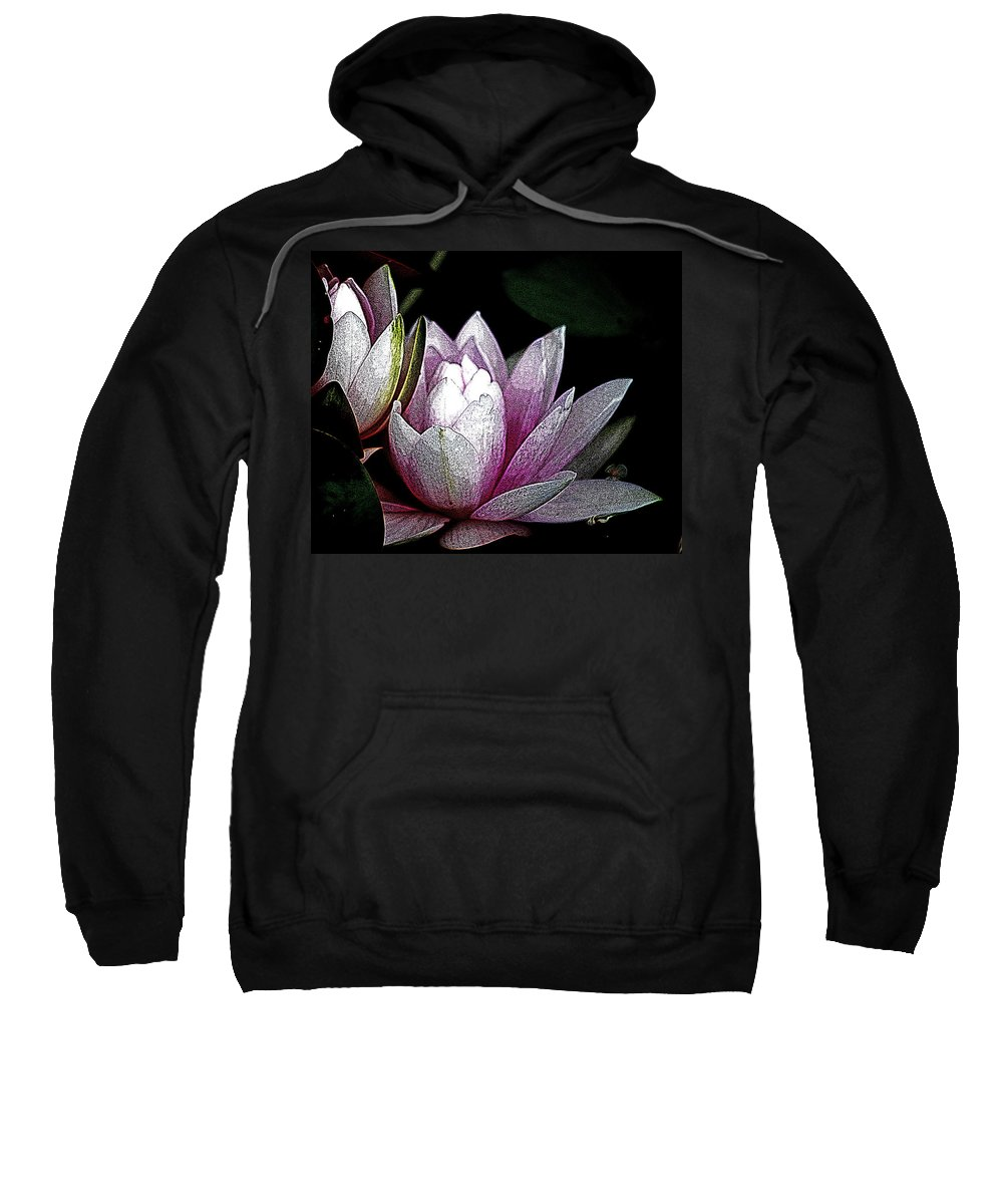 Water Lily Sweatshirt featuring the digital art Water Lilies I by Kathy Sampson