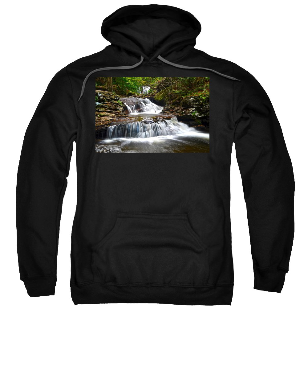 Oasis Sweatshirt featuring the photograph Waterfall Oasis by Frozen in Time Fine Art Photography