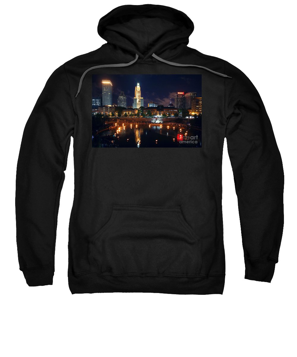 Skyline Scenes Sweatshirt featuring the photograph Waterfire Providence by Bill Cobb