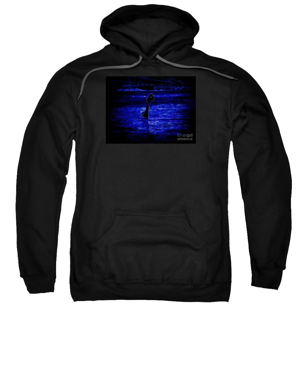 Sweatshirt featuring the photograph Water's Up In Neon Tweaked by Kelly Awad