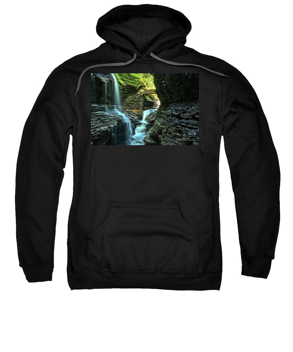 Watkins Glen State Park Sweatshirt featuring the photograph Watkins Glen Waterfalls by Adam Jewell