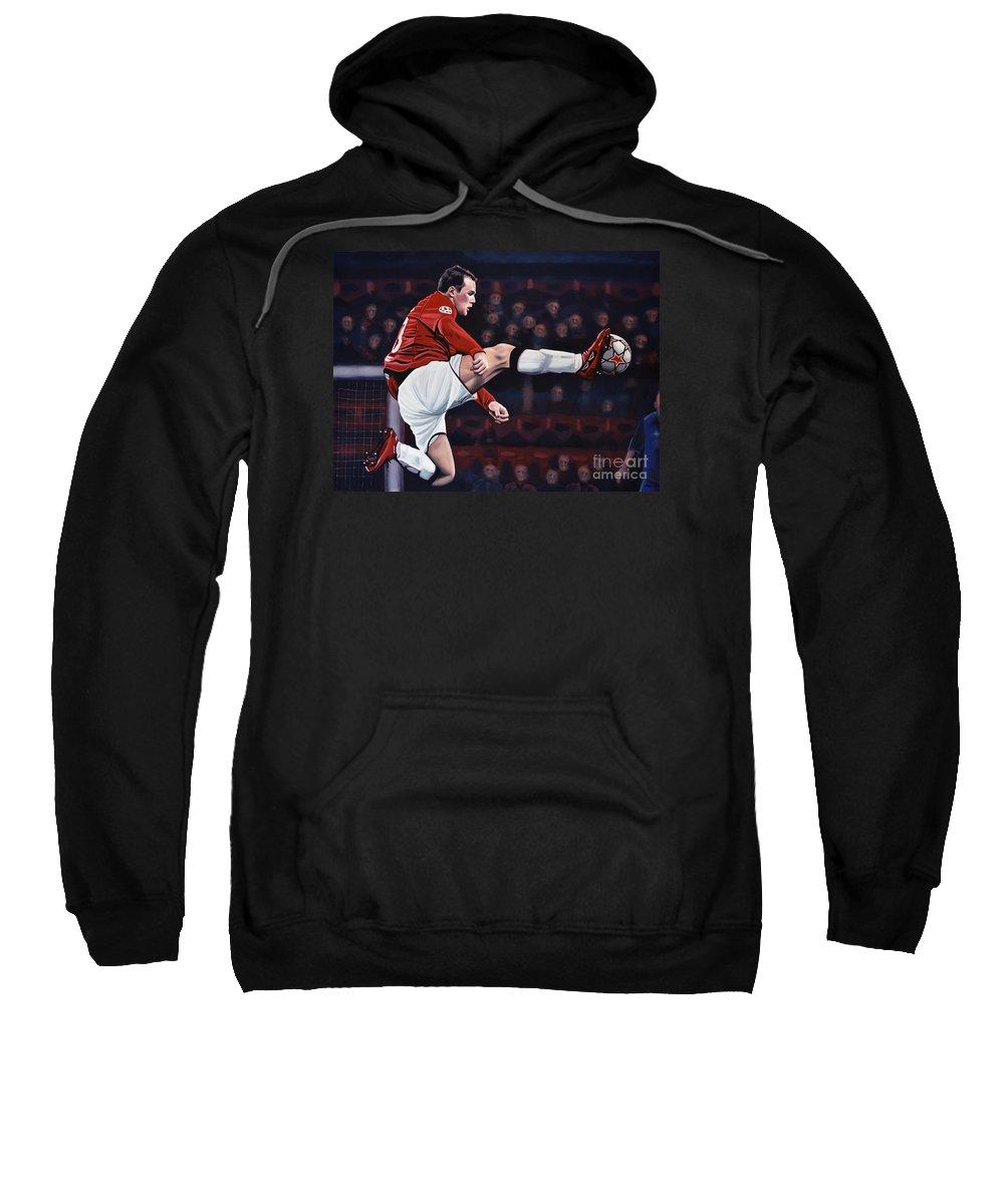 Wayne Rooney Sweatshirt featuring the painting Wayne Rooney by Paul Meijering