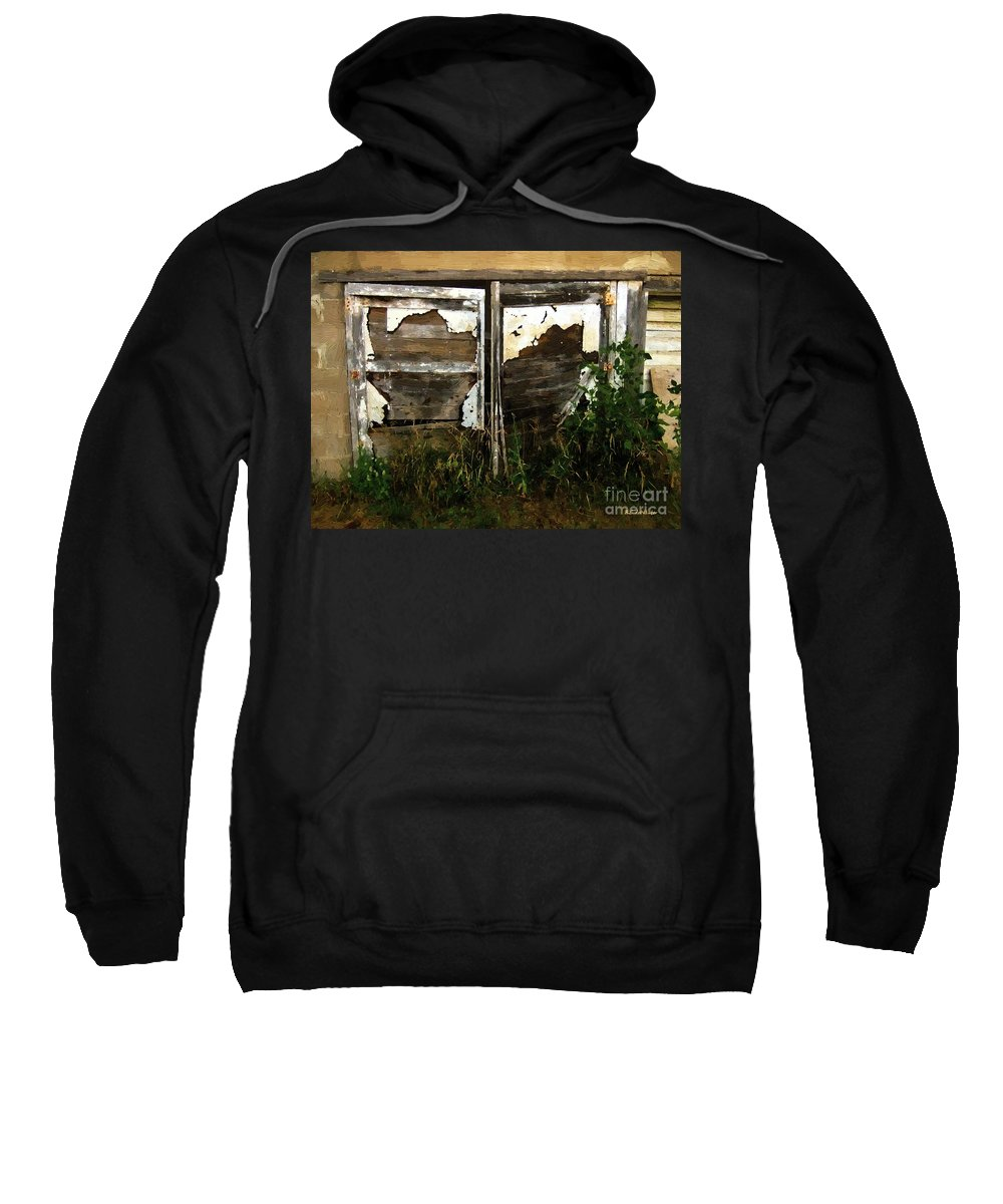 Shed Sweatshirt featuring the painting Weathered In Weeds by RC DeWinter