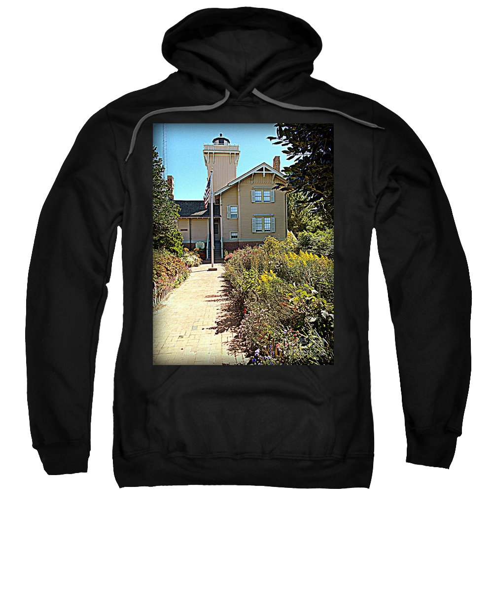 Lighthouse Sweatshirt featuring the photograph Welcome To Hereford Inlet Lighthouse by Pamela Hyde Wilson