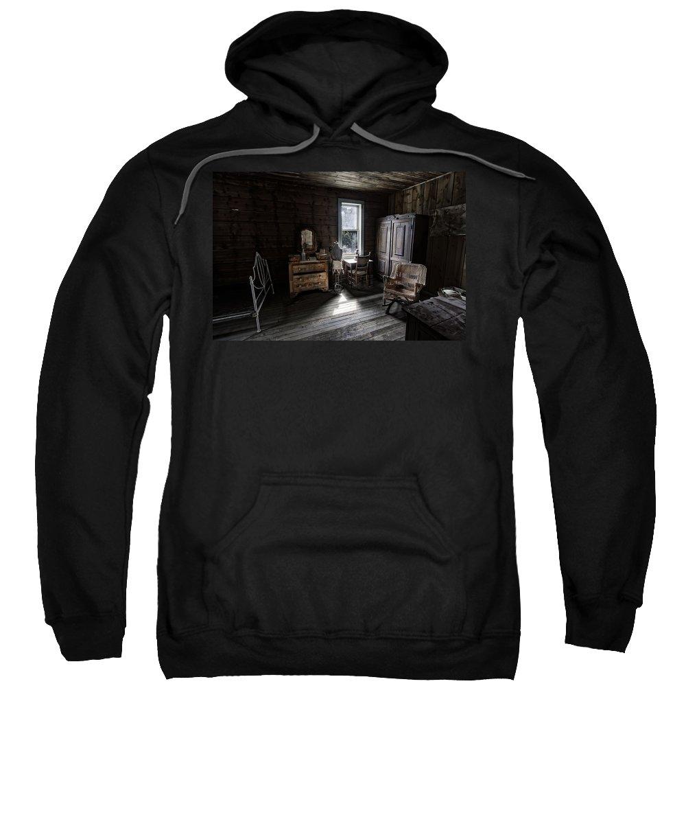 Garnet Sweatshirt featuring the photograph Wells Hotel Bridal Suite - Garnet Ghost Town - Montana by Daniel Hagerman