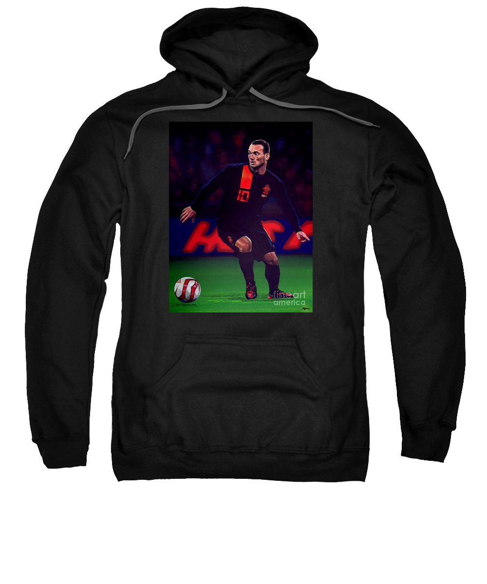 Wesley Sneijder Sweatshirt featuring the painting Wesley Sneijder by Paul Meijering