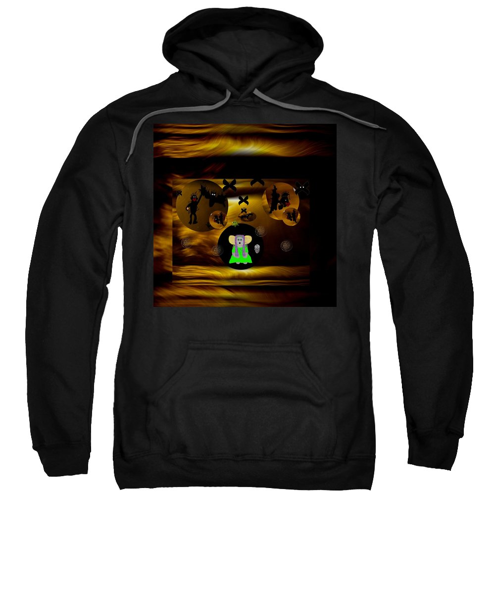 Desert Sweatshirt featuring the mixed media What Are You Doing by Pepita Selles