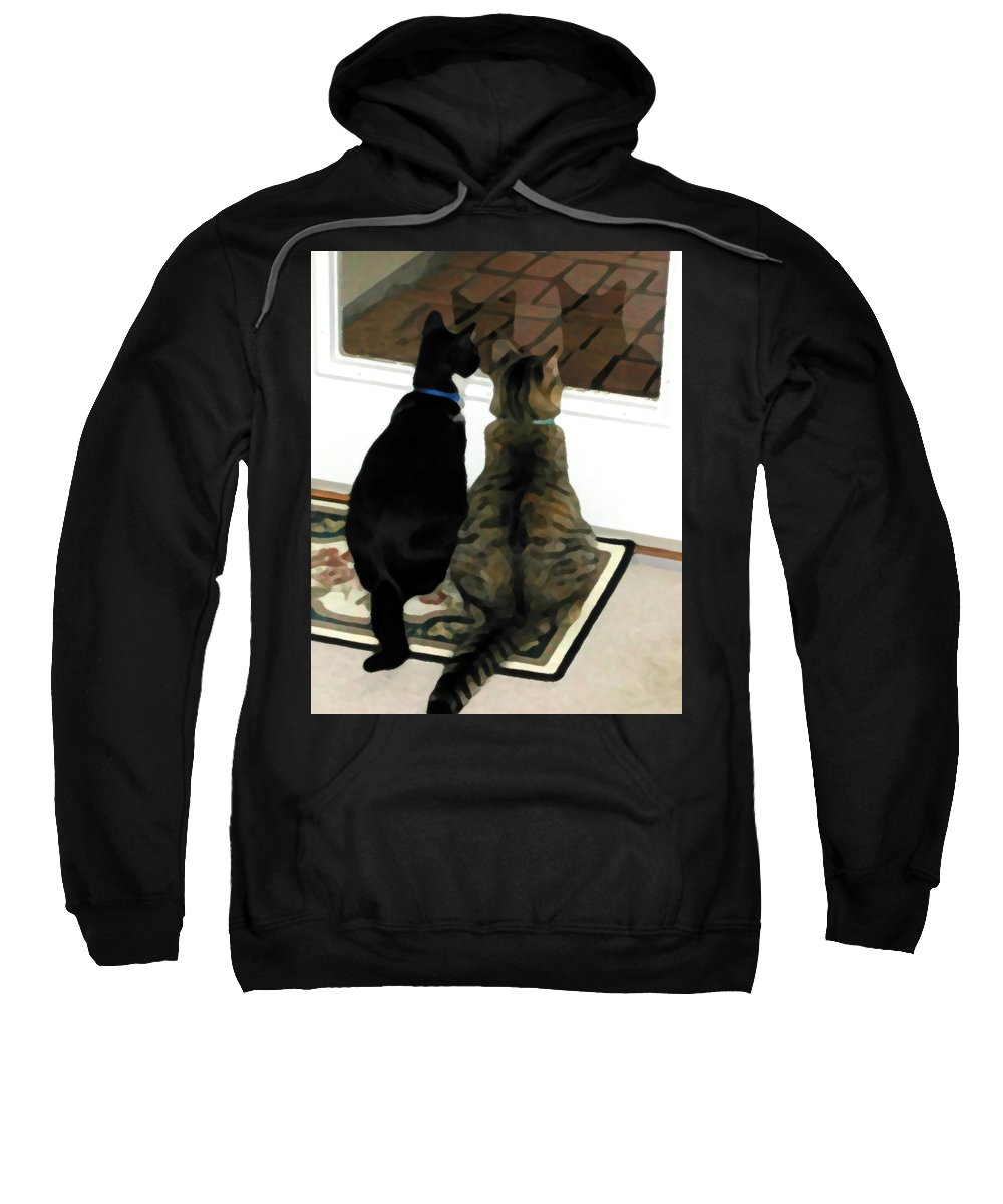 Black And White Sweatshirt featuring the photograph What Do You See by Jeanne A Martin