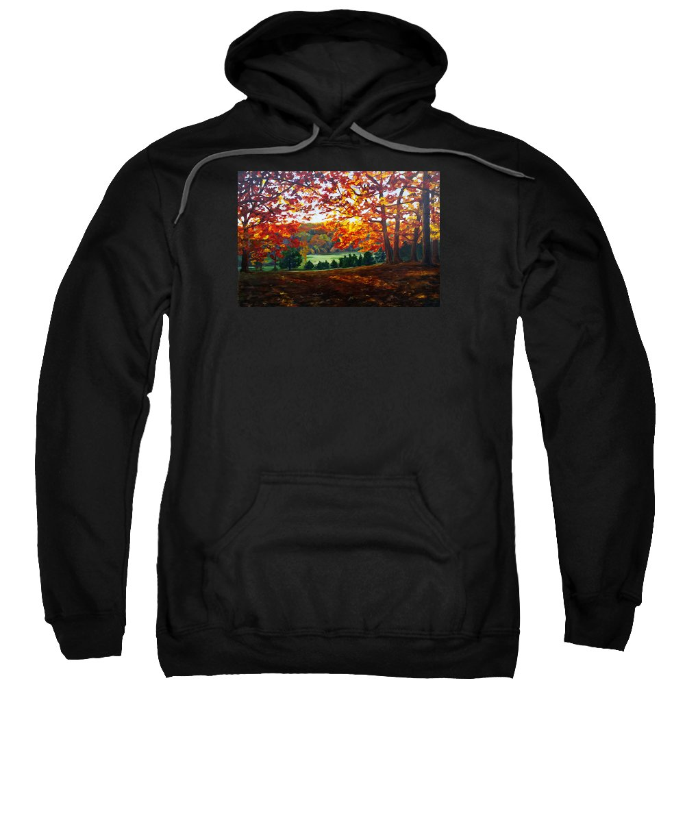 Landscape Sweatshirt featuring the painting What The Cow Saw by Lisa Frick