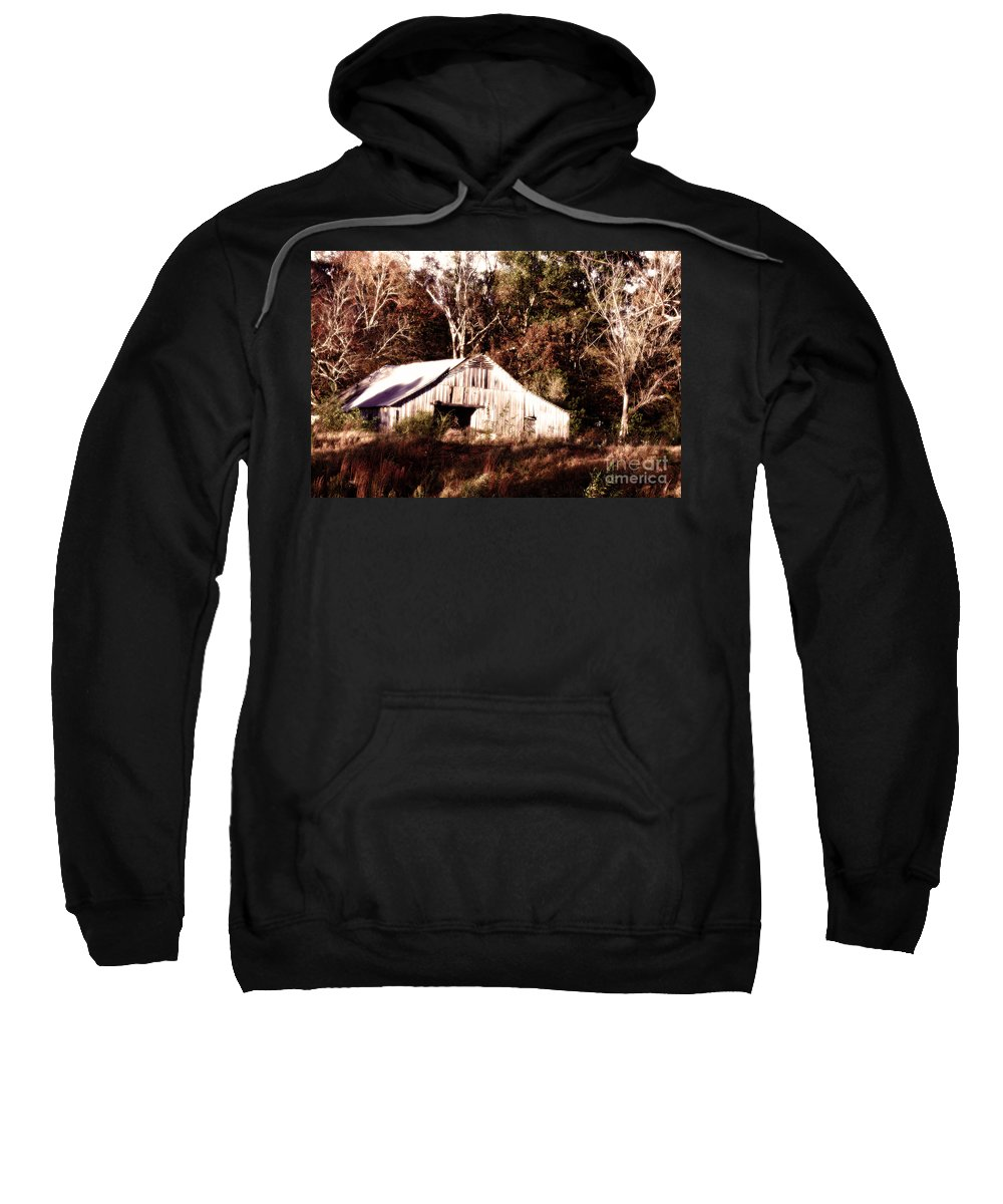 Hdr Photography Sweatshirt featuring the photograph White Barn In Autumn by Lesa Fine