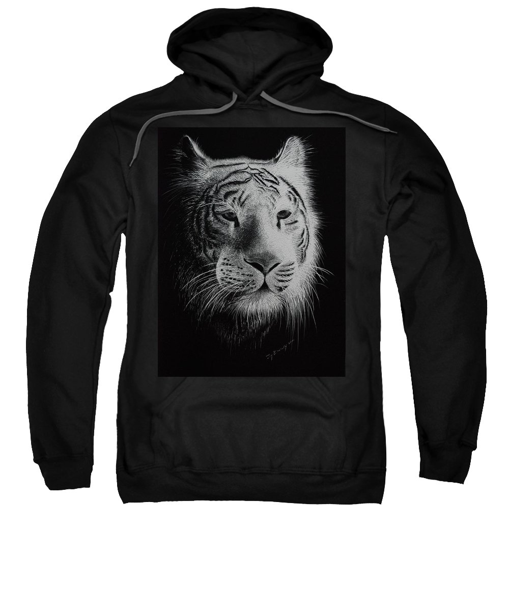 Greeting Cards Sweatshirt featuring the painting White Bengal Tiger by Joy Bradley