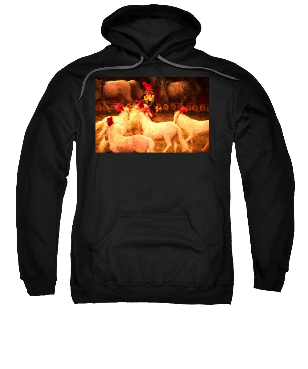 Circus Ponies Sweatshirt featuring the photograph White Circus Ponies by Alice Gipson