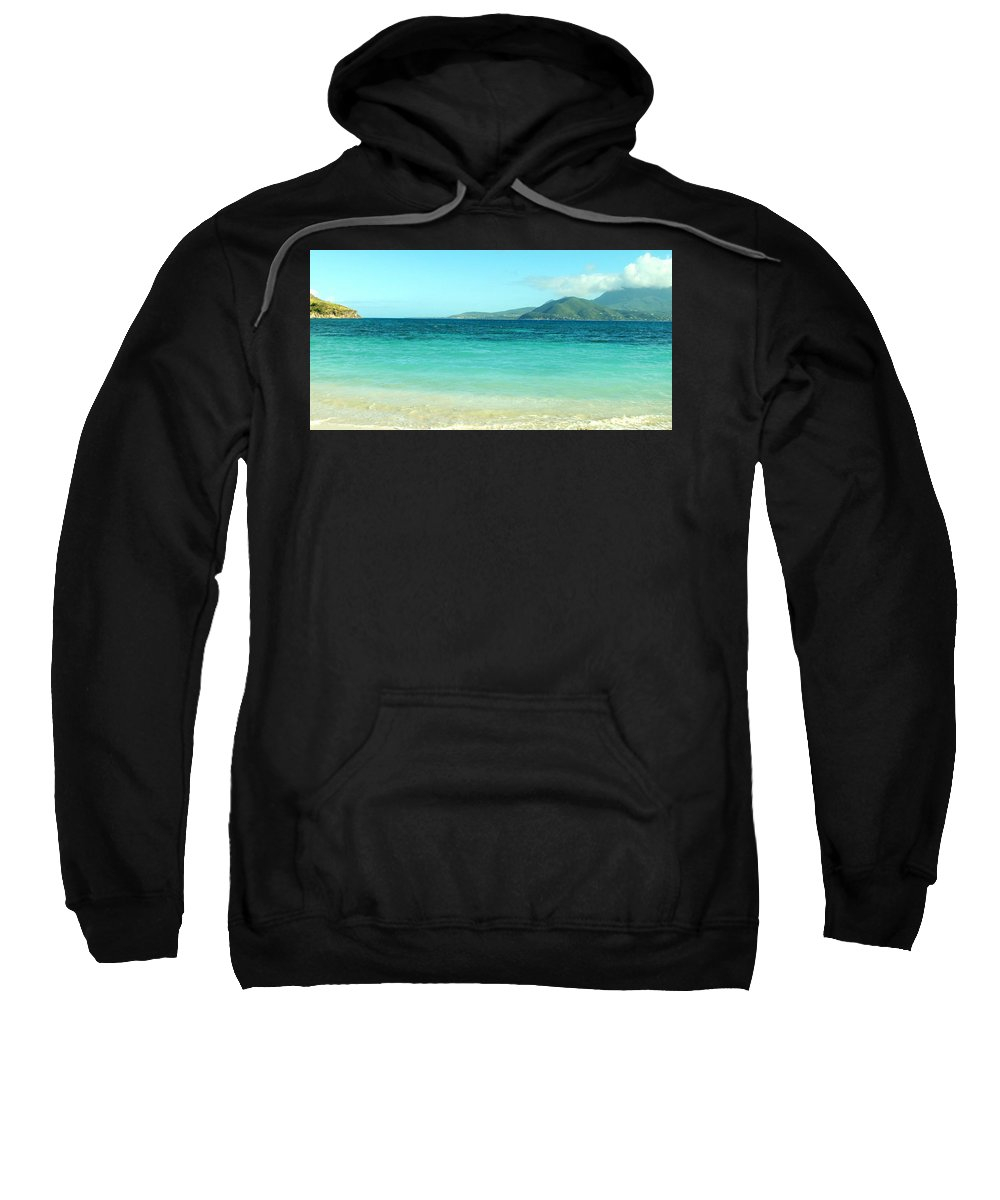 St Kitts Sweatshirt featuring the photograph White Sand Blue Sky Blue Water by Ian MacDonald