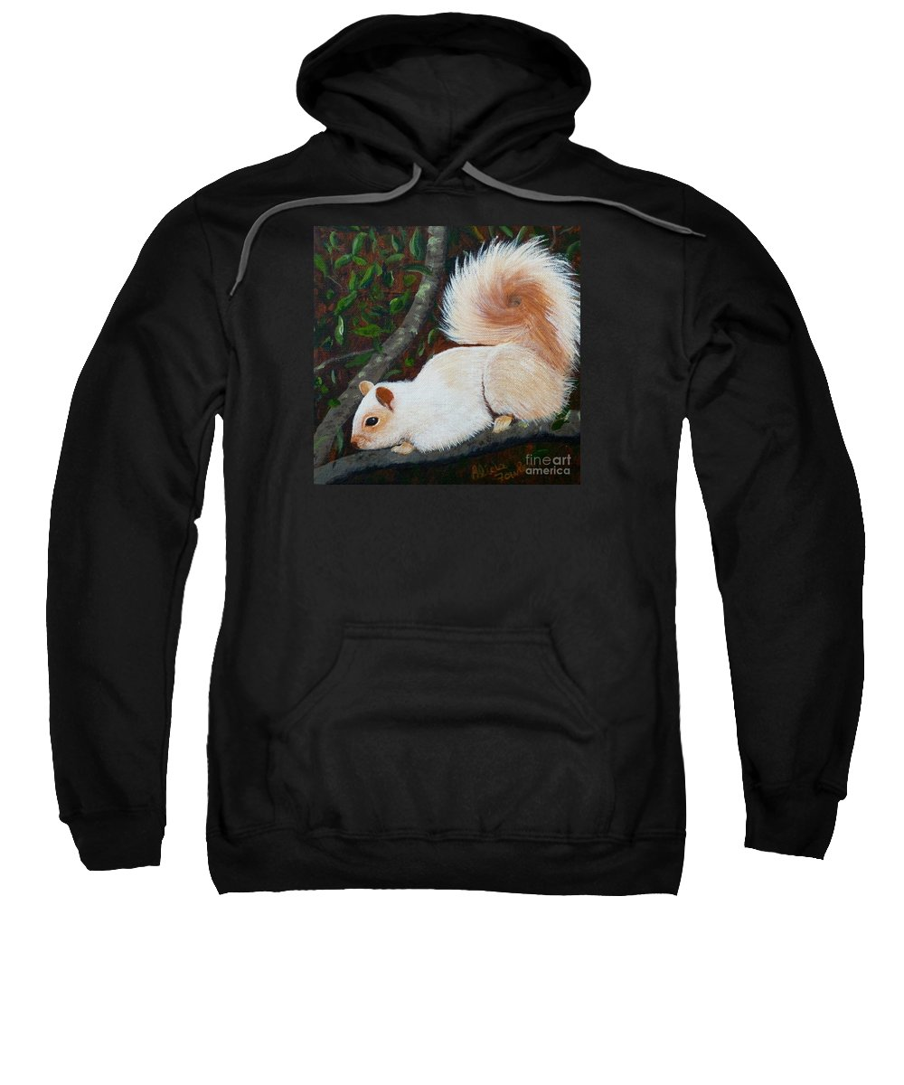 Squirrel Sweatshirt featuring the painting White Squirrel Of Sooke by Alicia Fowler