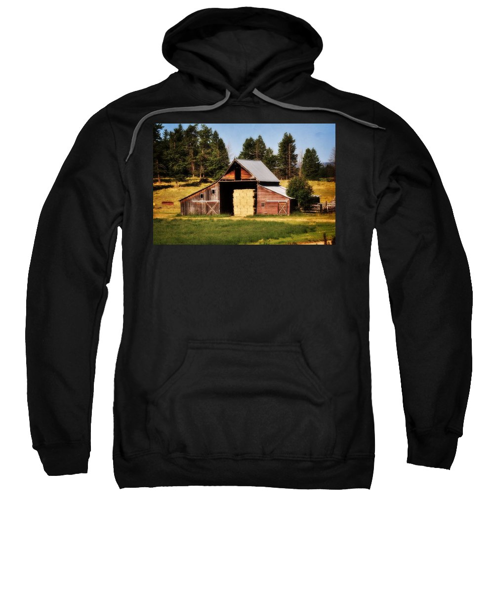 Barn Sweatshirt featuring the photograph Whitefish Barn by Marty Koch