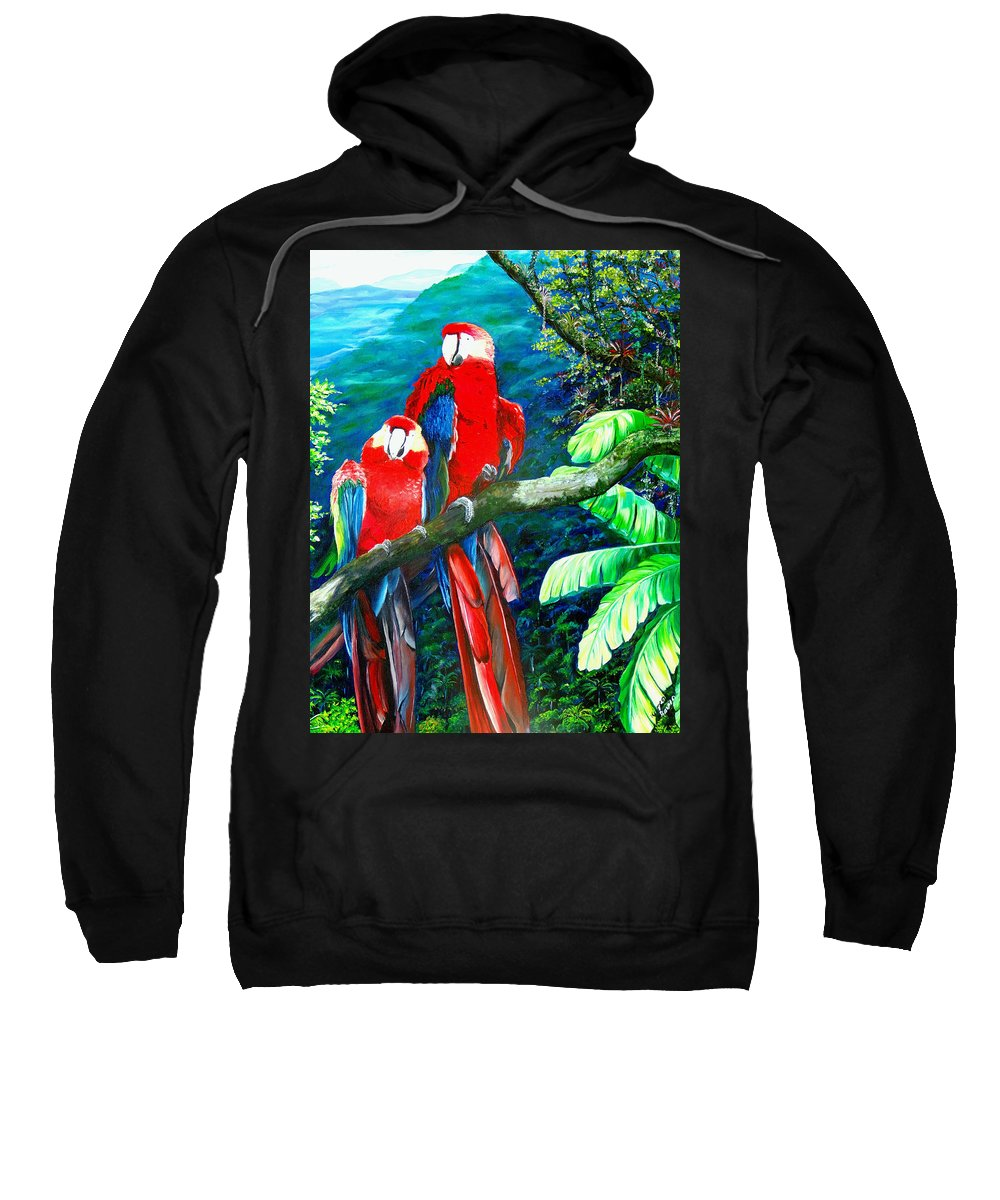 Caribbean Painting Green Wing Macaws Red Mountains Birds Trinidad And Tobago Birds Parrots Macaw Paintings Greeting Card  Sweatshirt featuring the painting Who Me  by Karin Dawn Kelshall- Best