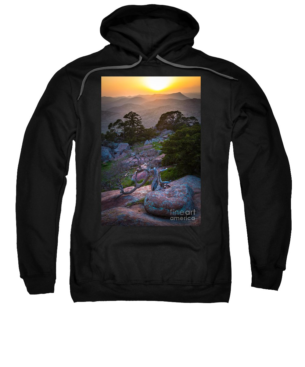 America Sweatshirt featuring the photograph Wichita Mountains Sunset by Inge Johnsson