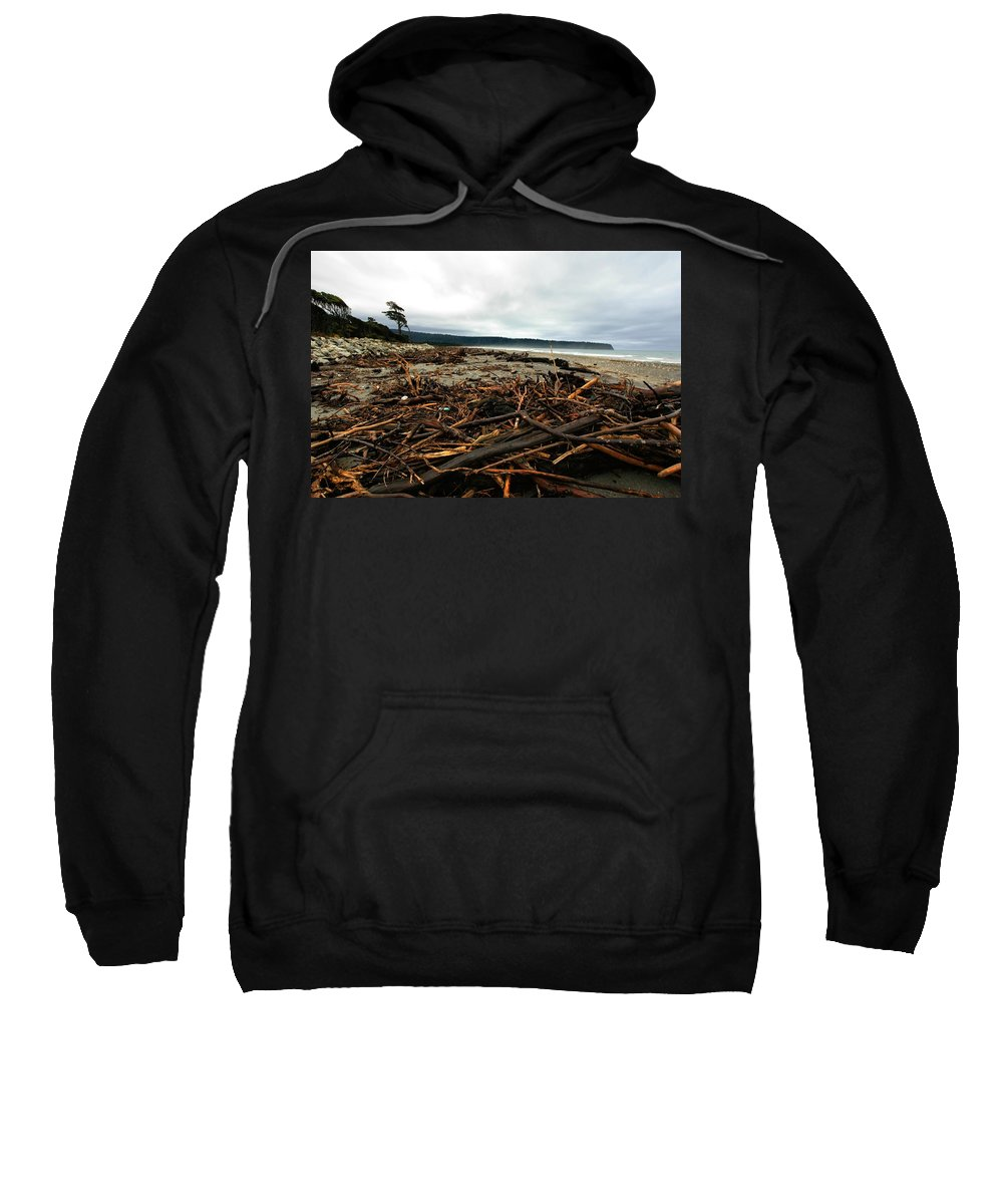 Driftwood Sweatshirt featuring the photograph Wild Beach New Zealand by Amanda Stadther