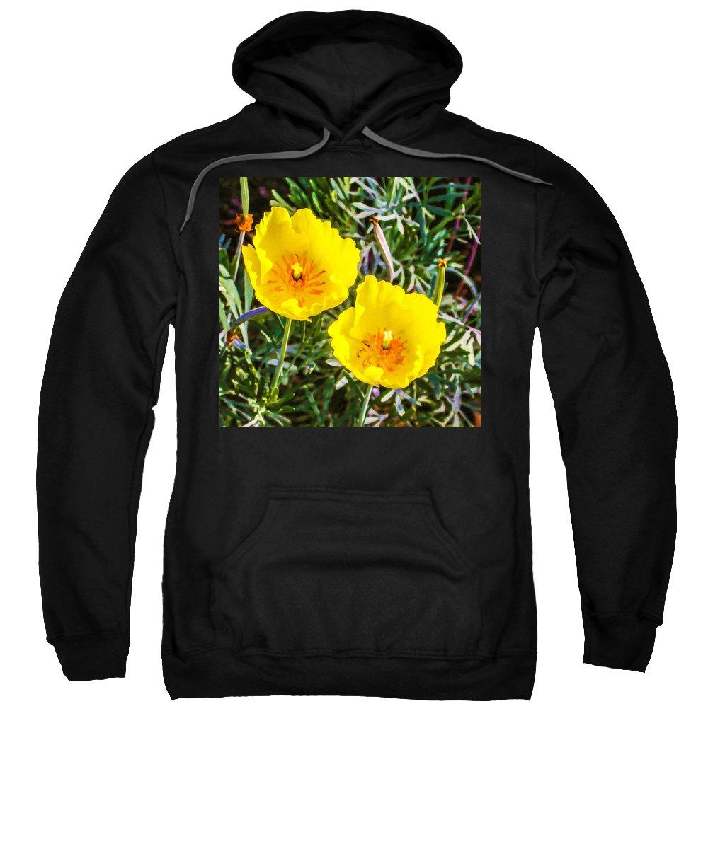 Garden Sweatshirt featuring the painting Wild Flowers 2 by Jeelan Clark
