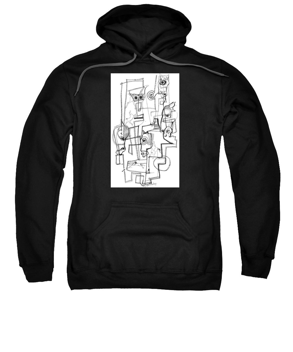 Mary Ogden Armstrong Sweatshirt featuring the drawing Wild Horse Day by Mary Armstrong