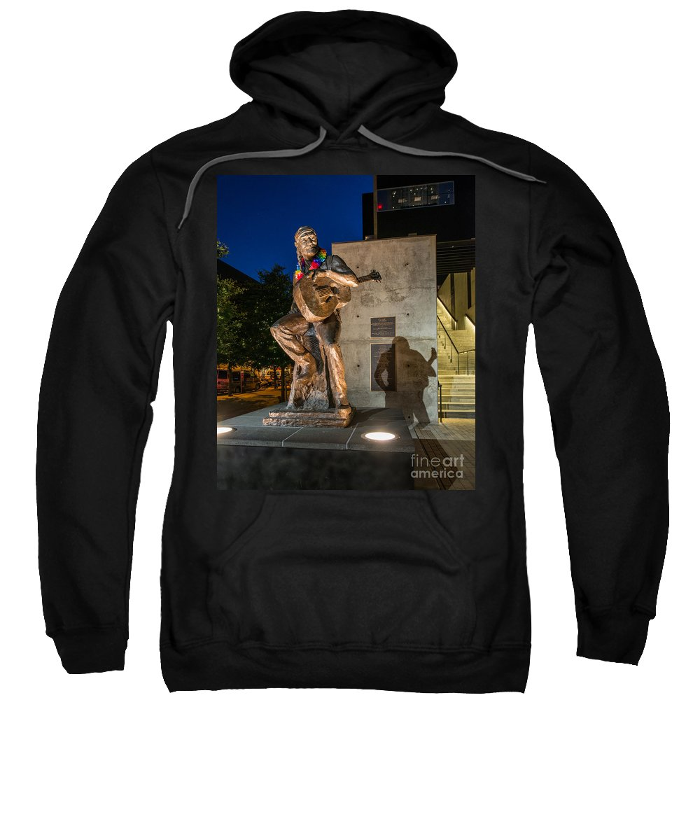 Austin Willie Nelson Sweatshirt featuring the photograph Austin Willie Nelson Statue by Tod and Cynthia Grubbs