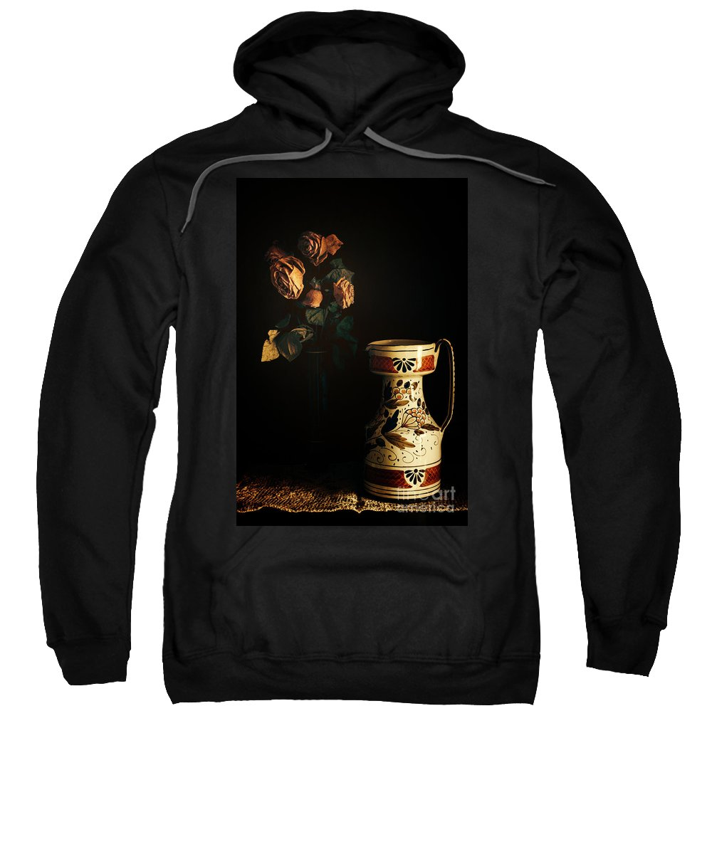 Chiaroscuro Sweatshirt featuring the photograph Wilted Roses With Italian Vase by Silvia Ganora