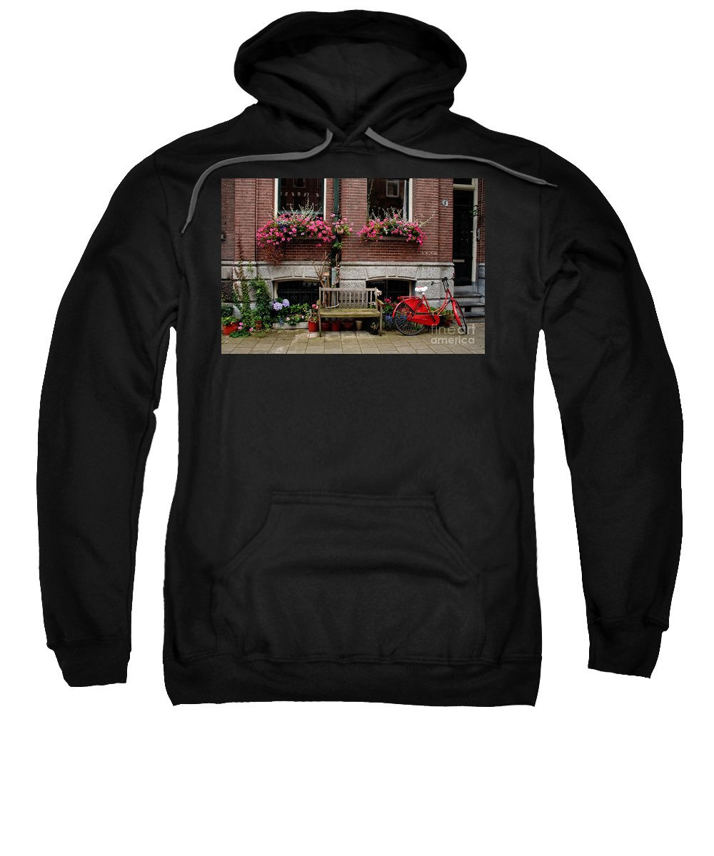 Amsterdam Sweatshirt featuring the photograph Window Box Bicycle And Bench -- Amsterdam by Thomas Marchessault