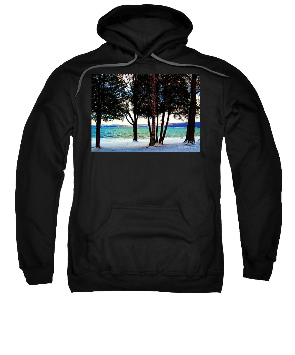 Dunes Sweatshirt featuring the photograph Winter At The Dunes by Desiree Paquette