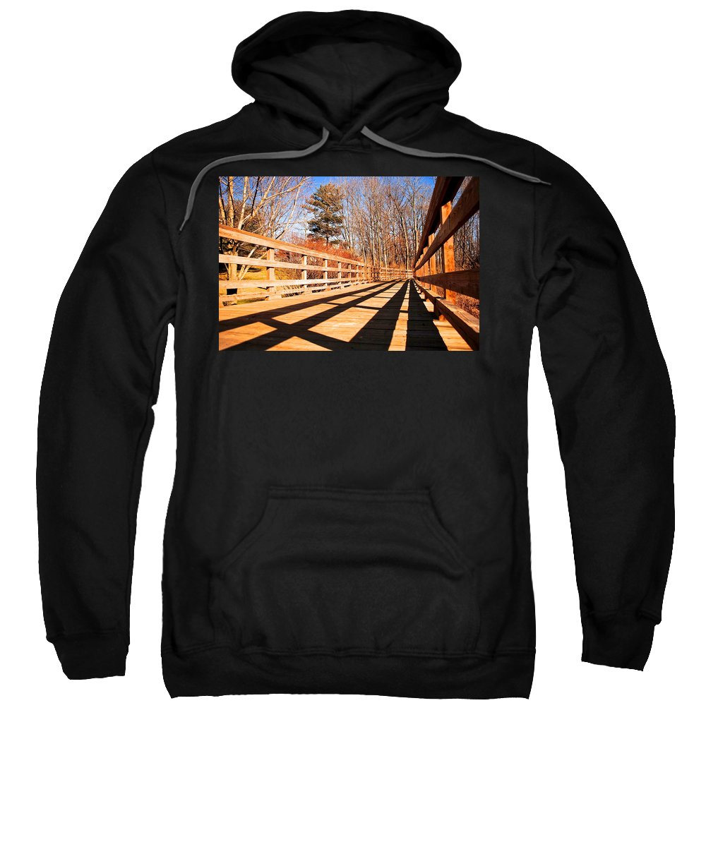 Bridge Sweatshirt featuring the photograph Winter Spring Crossover by Frozen in Time Fine Art Photography