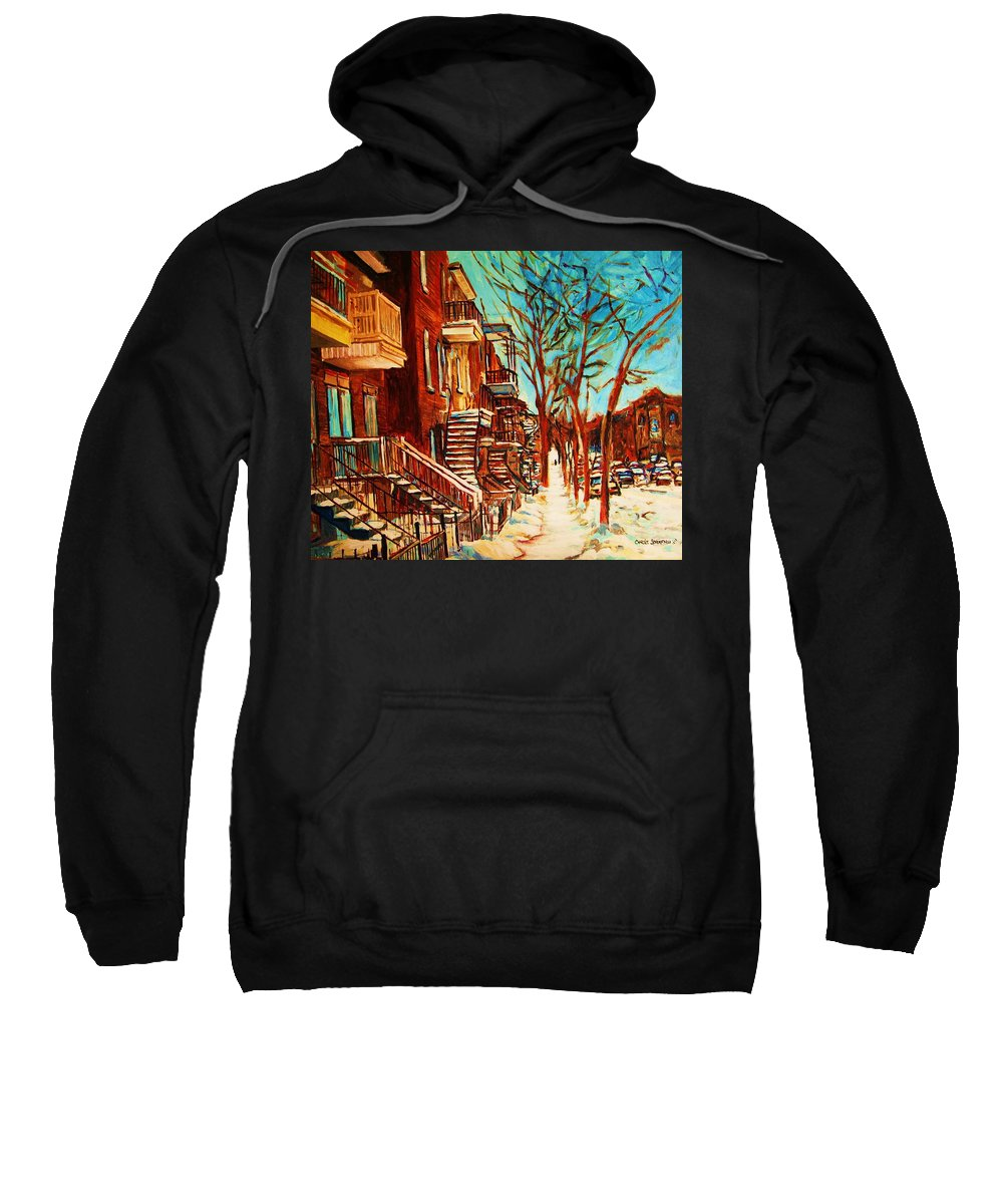 Verdun Paintings By Montreal Street Scene Artist Carole Spandau Sweatshirt featuring the painting Winter Staircase by Carole Spandau