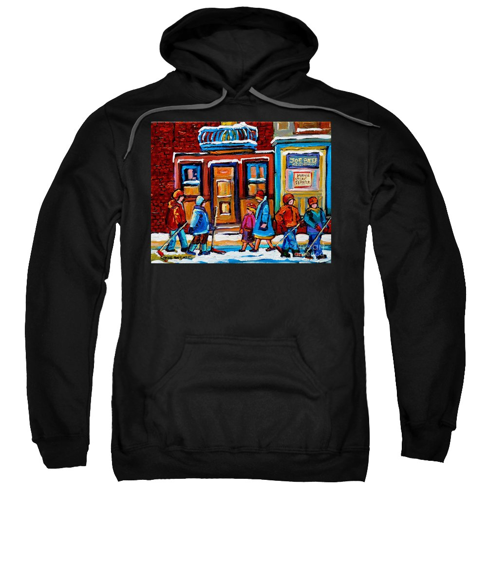 Montreal Sweatshirt featuring the painting Winter Street In Saint Henri by Carole Spandau