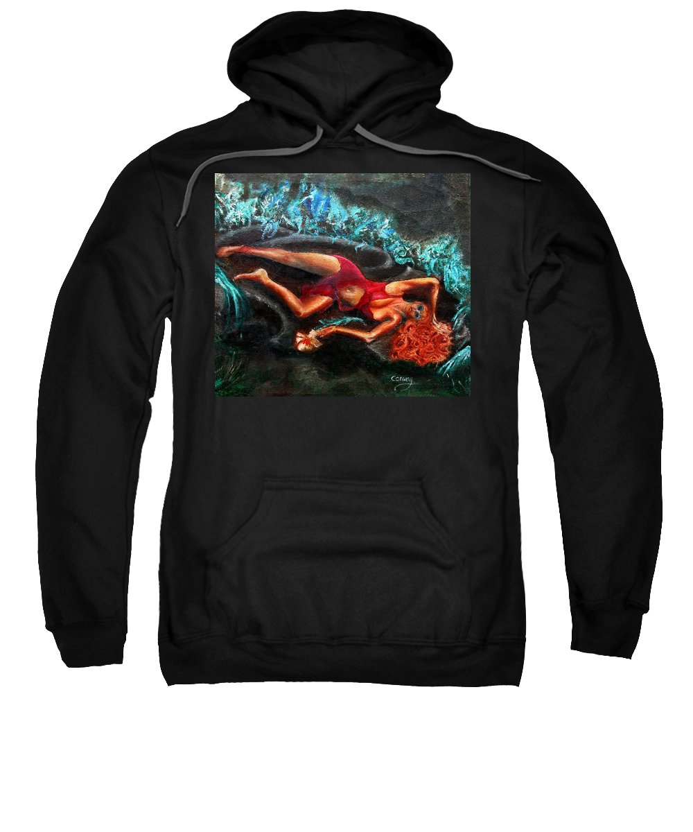 Females Sweatshirt featuring the painting Woman In A Red Dress Holding A Flower by Tom Conway