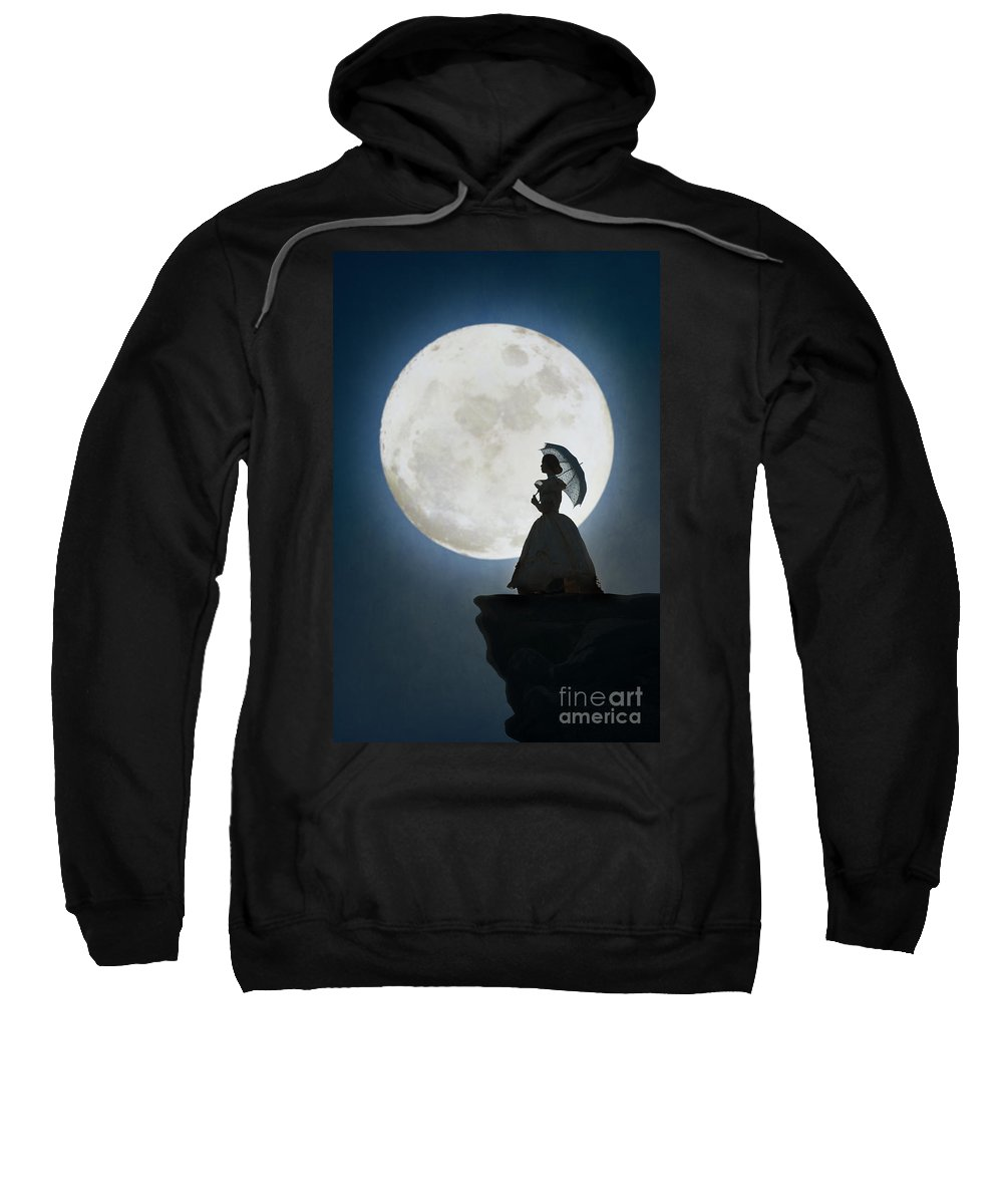 Victorian Sweatshirt featuring the photograph Woman In Historical Clothing On A Cliff With Full Moon by Lee Avison