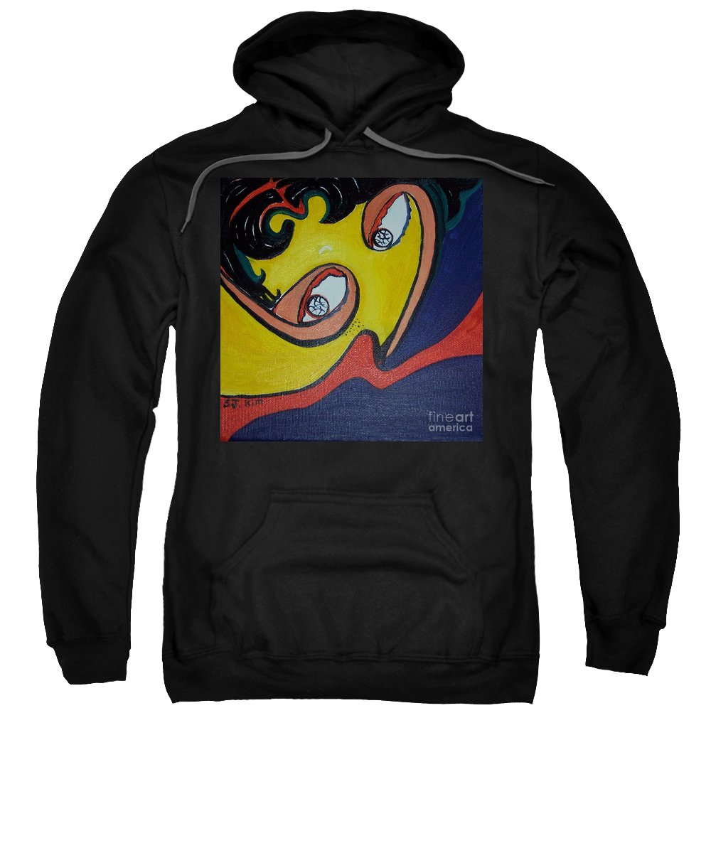 Abstract Figurative Paintings Sweatshirt featuring the painting Woman20 by Seon-Jeong Kim