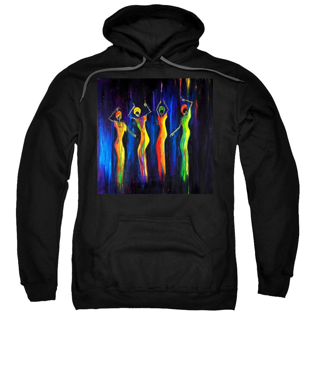 Women Paintings Sweatshirt featuring the painting Womens Day Celebration In South Africa by Marietjie Henning