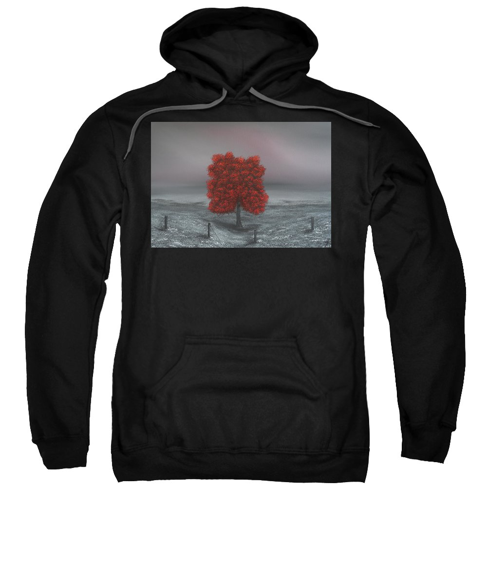 Large Landscape Painting Sweatshirt featuring the painting Wrapped In Red by Dawn Richards