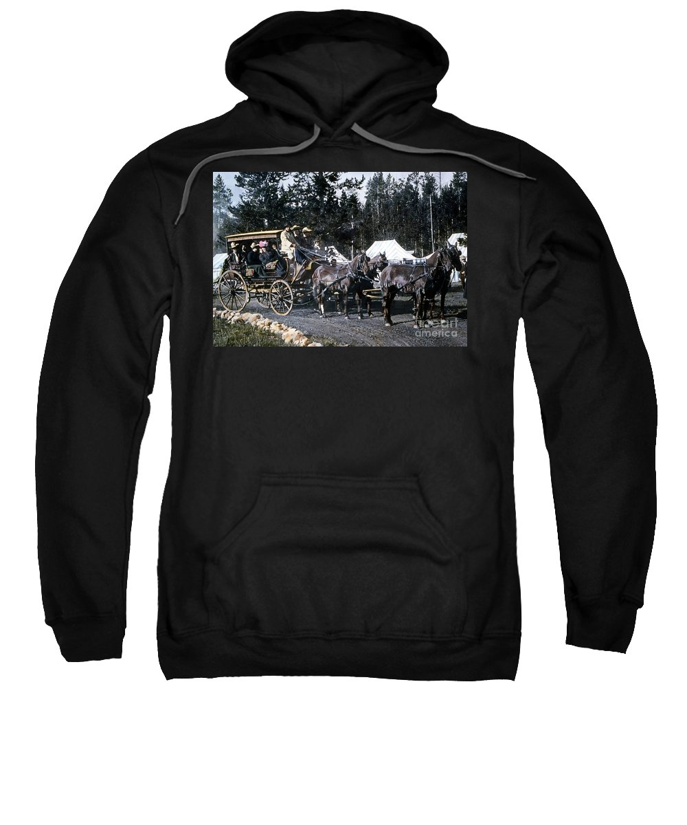 History Sweatshirt featuring the photograph Wylie Coach Yellowstone National Park by NPS Photo