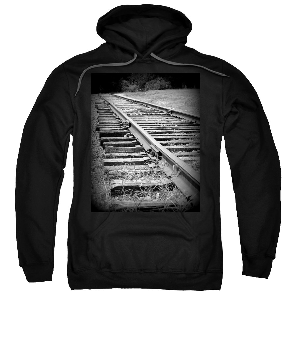 Black And White Sweatshirt featuring the photograph Ye Olde Tracks by Michele Nelson