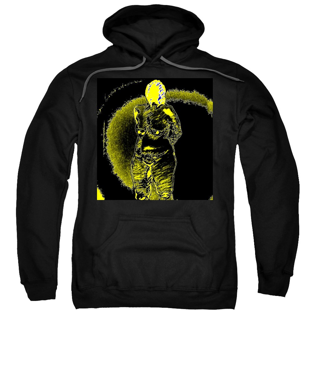 Genio Sweatshirt featuring the mixed media Yellow And Black Woman by Genio GgXpress