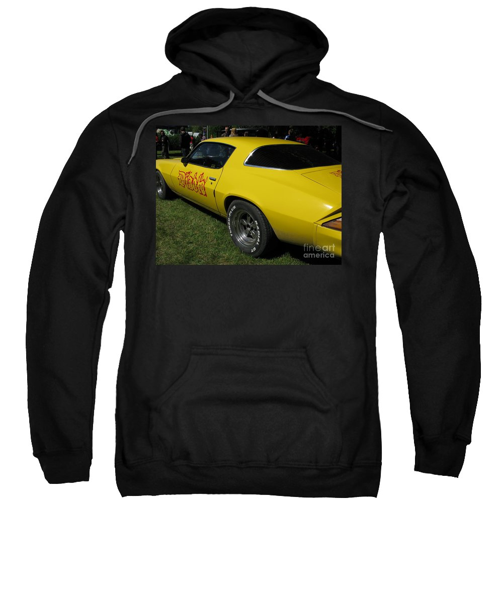 Yellow Sweatshirt featuring the photograph Yellow Classic Car Diablo At The Show by Ausra Huntington nee Paulauskaite