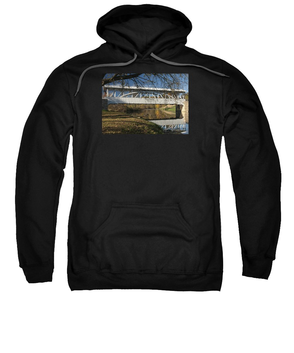 Yellow Creek Sweatshirt featuring the photograph Yellow Creek Covered Bridge by Timothy Flanigan