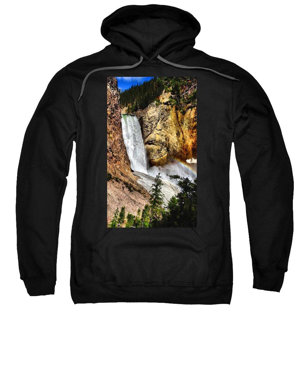 Waterfall Sweatshirt featuring the photograph Yellowstone Lower Falls Rainbow by Dan Sproul
