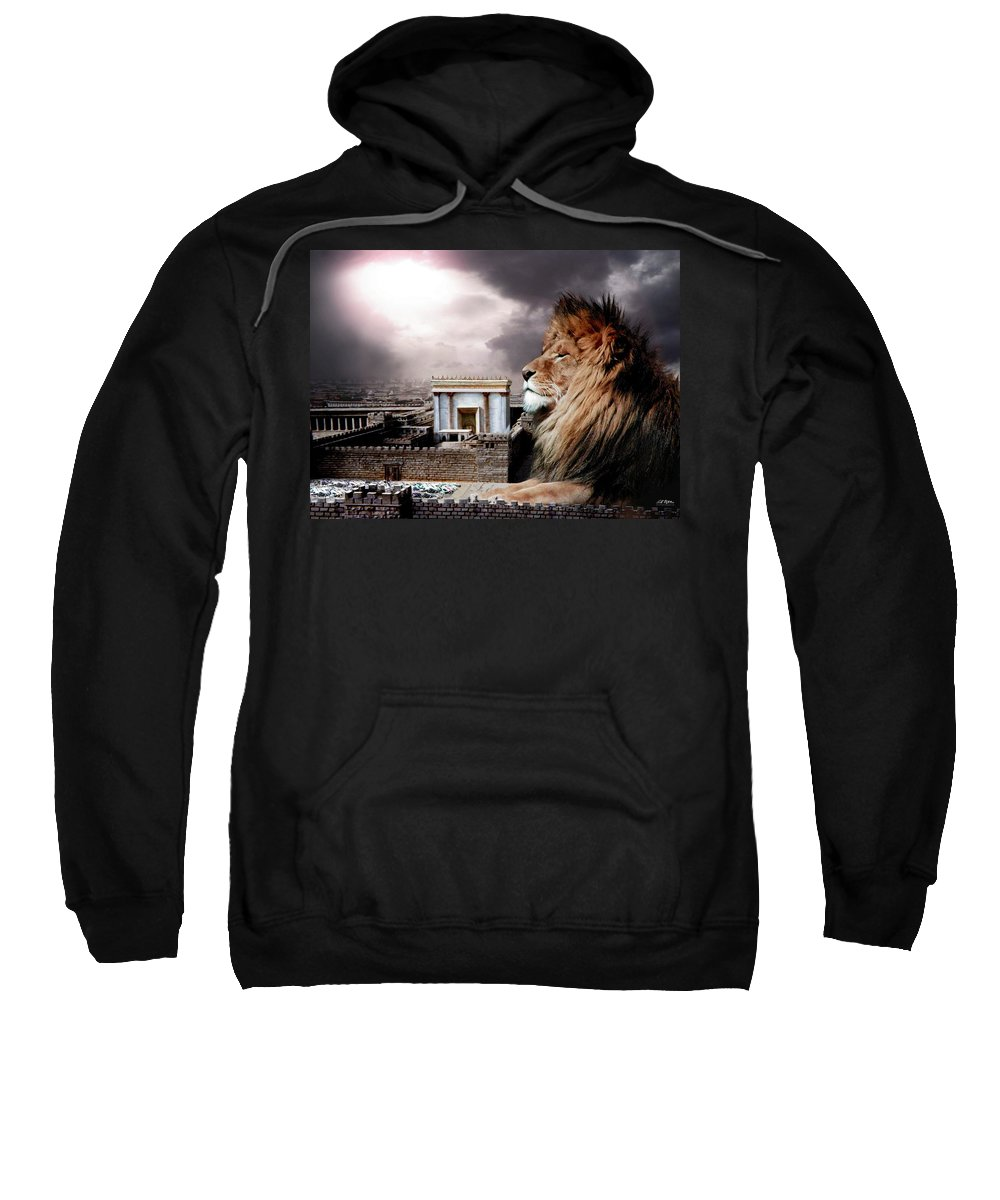 Lions Sweatshirt featuring the digital art Yeshua In The Outer Court by Bill Stephens