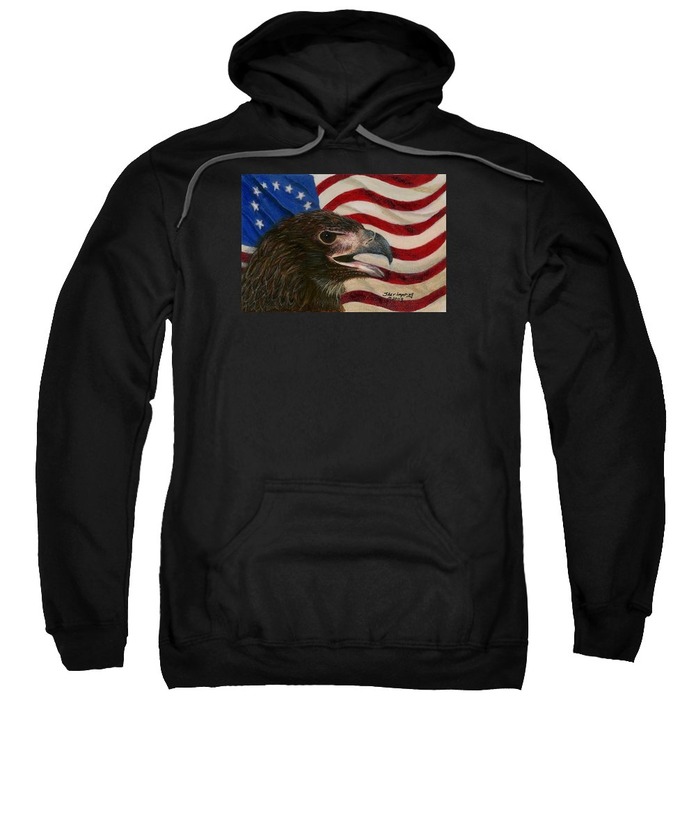Eagle Sweatshirt featuring the painting Young Americans by Sherryl Lapping