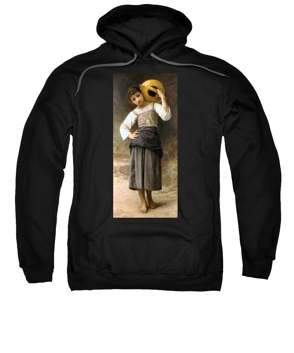 Young Girl Going To The Fountain Sweatshirt featuring the digital art Young Girl Going To The Fountain by William Bouguereau
