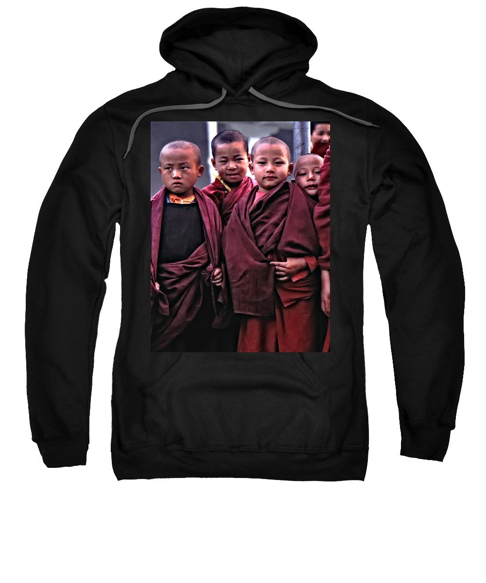 Buddhism Sweatshirt featuring the photograph Young Monks II by Steve Harrington